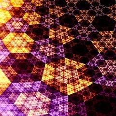 Digital Abstract Fractal Hexagons 3D Plane