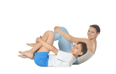Mother and son doing exercises