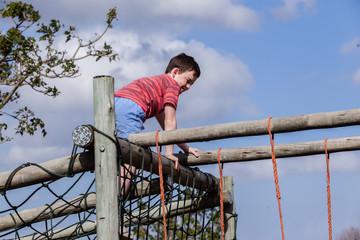 Boy Playground Netting Challenge