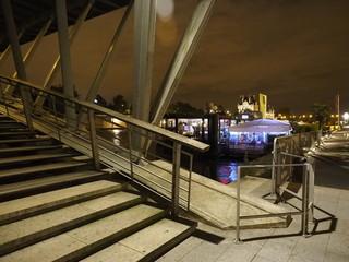 Río Sena en París por la noche