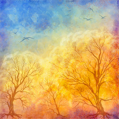 Vector oil painting autumn trees, flying birds