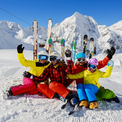 Skiing, winter, snow and fun - family enjoying winter