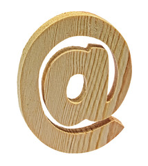 Wooden At Symbol on White Background