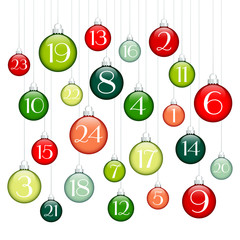 Advent Calendar Christmas Balls Green/Red/Silver