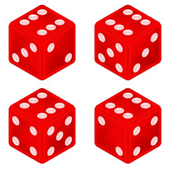 square red dice object set isolated