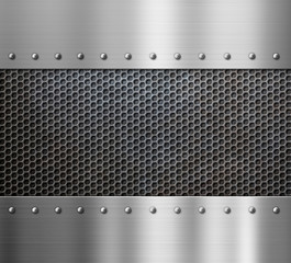steel metal background with rivets