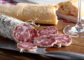 Italian salami and fresh bread