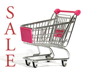 Empty shopping cart with the word - Sale