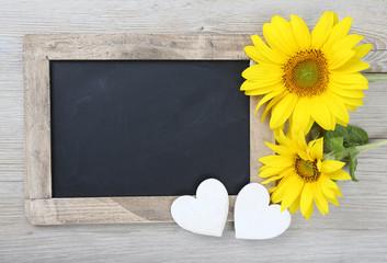 Tafel mit Sonnenblume