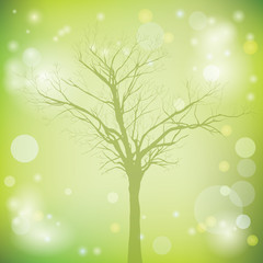 green vector background with old tree