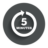 Every 5 minutes sign icon. Full rotation arrow.