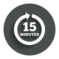Every 15 minutes sign icon. Full rotation arrow.