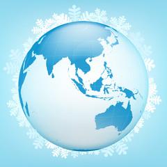 Asia globe view in winter season vector