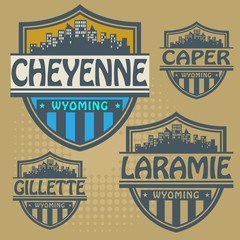 Label set with names of Wyoming cities, vector