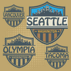 Label set with names of Washington cities, vector