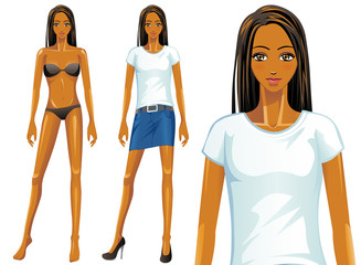 Vector female t-shirt fashion model (African)