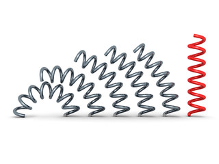 red bent spring spiral leader on white background