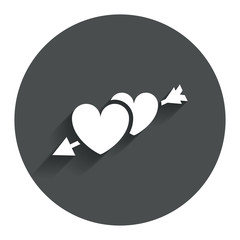 Hearts with arrow sign icon. Love symbol.