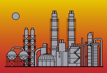 Oil refinery factory, vector
