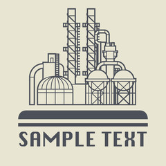 Oil refinery factory icon or sign, vector