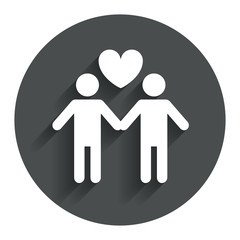 Couple sign icon. Male love male. Gays.