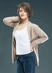 Short hair woman. Beauty model studio portrait
