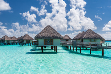 Overwater bungalows in french polynesia. Bora Bora