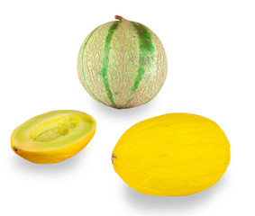 Cantaloupe melon and yellow melon on white background