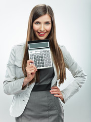 Woman accountant portrait. Young business woman. White backgrou