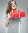 Happy woman hold gift box