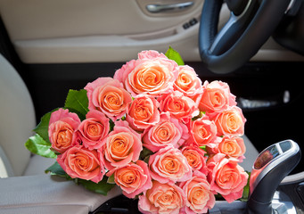 bouquet in a car seat