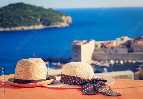 canvas print picture two hats on vacation in Europe