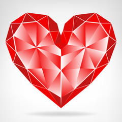 diamond red heart icon isolated vector