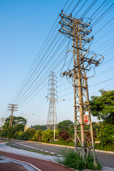 Transmission electrical power poles in town