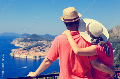 happy couple on vacation in Europe - 70243103