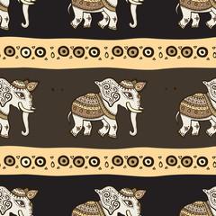 Elephants. Ethnic seamless background.