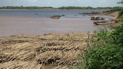 group of bamboo raft along  the mekong river (3)