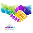 Creative concept of the hendshake. Colorful polygons, vector