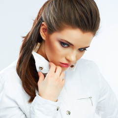 Close up beauty woman face. model