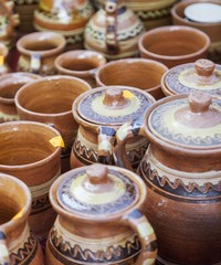 Traditional clay pots exposed to a rural fair