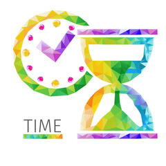 Creative concept of the time, clock. Colorful polygons, vector