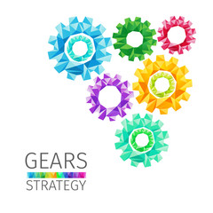 Creative concept of gears consists of colorful polygons