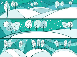 Winter banners with cartoon trees