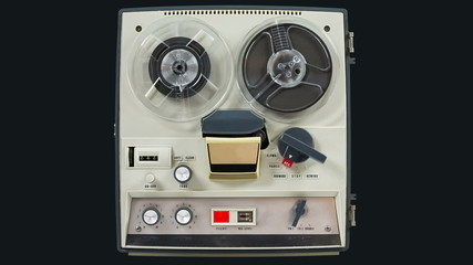 Reel to reel retro tape recorder.
