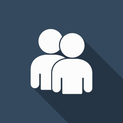 twin person icon with long shadow