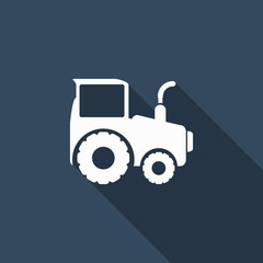 tractor icon with long shadow