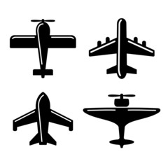 Different Airplane Icons Set. Vector