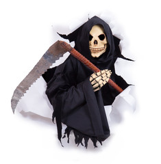 Grim reaper with scythe in hole