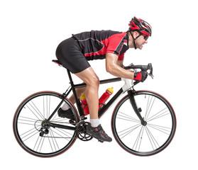 cyclist sprints on a bike