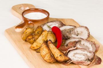 Sausage and potato - Stock Image macro.
